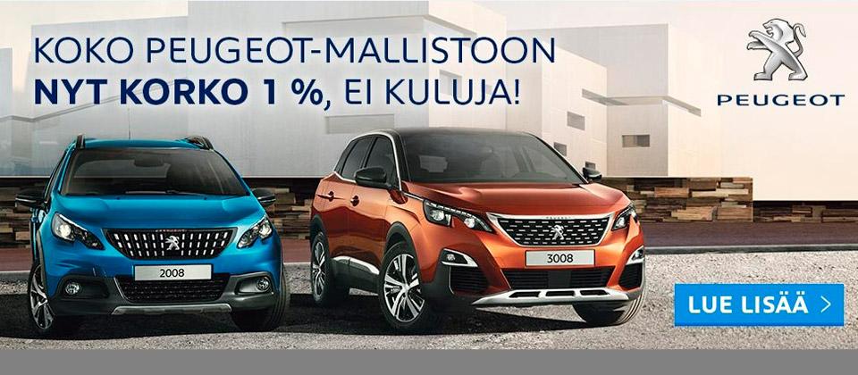 Peugeot mallistoon korko 1%